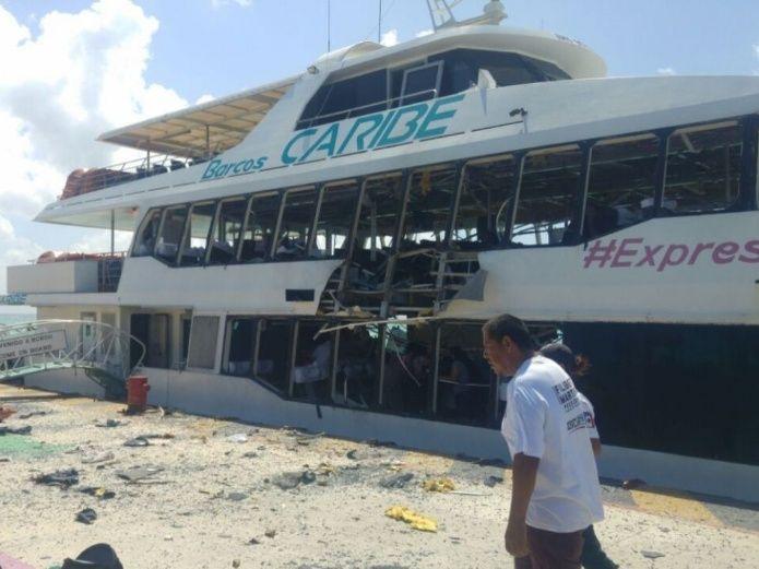 Explota ferry en Playa del Carmen dejando 18 lesionados