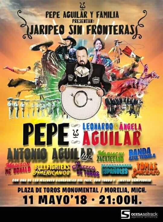"""Pepe Aguilar y su familia llegarán a Morelia con su tour """"Jaripeo Sin Fronteras"""""""